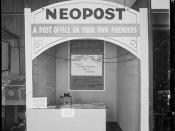 Stall at a trade fair advertising and displaying Neopost