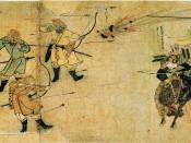 日本語: 『蒙古襲来絵詞』前巻、絵七。【文永の役】(トリミング版・サムネイル用)