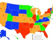 Map of USA states as regards their status for Concealed firearm carry