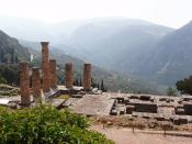 Temple of Apollo located on the slopes of Mount Parnassus near Delphi, Greece. The original location of the Delphic Oracle.