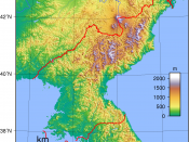 Topographic map of North Korea. Created with GMT from SRTM data.
