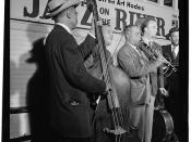 [Portrait of Albert Nicholas and Rudi Blesh, Riverboat on the Hudson, N.Y., ca. July 1947] (LOC)