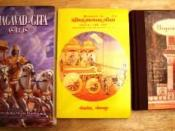 Three translations: Bhagavad Gita As It Is, a Gujarati translation by Gita Press, and another English one published by Barnes & Noble.