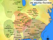 English: A map showing the various Mississippian cultures, including the Caddoan Mississippian culture and the Plaquemine culture, as well as the other cultures influenced by the Mississippians, the Fort Ancient culture and Oneota peoples. Also shows a fe