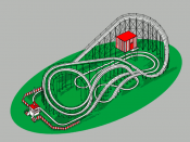 An example of a roller coaster, one of the staples of modern amusement parks