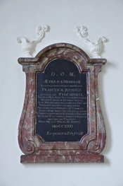 Plaque to the memory of Frances Jennings (la Belle Jennings), maid of honour (Matrona Honoraria) to the Queen, in the chapel of the former Scots College in Paris. The plaque is also a monument to the memory of her husbands, sir George Hamilton, and Richar