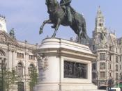 English: Equestrian statue of Dom Pedro IV, king of Portugal (Dom Pedro I, 1st Emperor of Brazil; Português: Estátua equestre de D. Pedro IV de Portugal (D. Pedro I do Brasil). Praça da Liberdade, Porto, Portugal. by (Célestin Anatole Calmels - 1866)