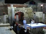 Catholic Mass in the Grotto of the Annunciation where, according to the Roman Catholic tradition, the Annunciation took place, and believed by many Christians to be the remains of the original childhood home of Mary, the mother of Jesus. Location: Church