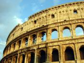 Though in ruins, the Flavian Amphitheatre, now known as the Colosseum, still stands today