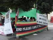 Demonstration against Robert Mugabe's regime next to the Zimbabwe embassy in London, on August 12, 2006