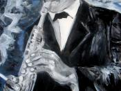 English: A portrait of John Coltrane by Paolo Steffan (amateur painter, Wikipedia user), 2007.