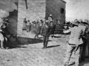1916 photograph of an execution by firing squad in Mexico. Caption: