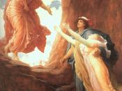Leighton depicts Hermes helping Persephone to return to her mother Demeter after Zeus forced Hades to return Persepone.