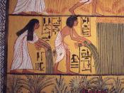 An early Ramesside Period mural painting from Deir el-Medina tomb depicts an Egyptian couple harvesting crops