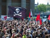 English: Rally in Stockholm, Sweden, in support of file sharing and software piracy. Svenska: Demonstration för fildelning i Stockholm.
