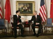 Hu Jintao with George W. Bush.