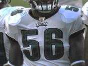 Philadelphia Eagles linebacker Akeem Jordan during a preseason game against the Jacksonville Jaguars in August 2009.