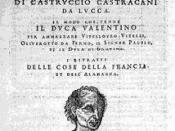 English: Cover page of 1550 edition of Machiavelli's Il Principe and La Vita di Castruccio Castracani da Lucca. Taken from http://www.storiain.net/arret/num60/artic6.htm. Svenska: Furstens omslagsbild.
