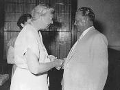 Josip Broz Tito greeting Eleanor Roosevelt during her visit to the Brijuni islands, Croatia, Yugoslavia (July 1953)