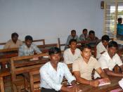 English: Students attending a Class on macro Economics at the Adithanar College of Arts and Science Thiruchendur