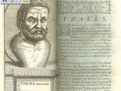 English: Thales of Miletus, from Diogenes Laertius' Lives, 1761, France Euskara: Tales Miletokoa, Diogenes Laertiusen Filosofoen bizitzak liburuko edizo frantses batean. 1761.