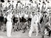 Picture of Benito Mussolini and Fascist Blackshirt youth in 1935 in Rome.