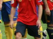 Español: (Foto recortada) El jugador de fútbol Xavi antes del partido Suecia - España de la Eurocopa 2008, en el estadio Tivoli Neu (Innsbruck)