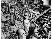 Panel from Diego Rivera's mural at Unity House, depicting class struggle and labor conflict in industry.  Included are representations of the Homestead and Pullman strikes.  Important figures include Daniel De Leon, Eugene Victor Debs, and William Haywood