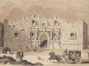 English: This is a drawing of the Alamo Mission in San Antonio. It was first printed in 1854 in Gleason's Pictorial Drawing Room Companion and was reprinted in Frank Thompson's 2005