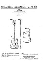 English: Design patent 187,001 for Fender bass guitar.