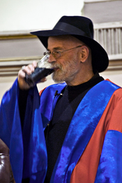 Terry Pratchett enjoying a Guinness at honorary degree ceremony at Trinity College Dublin.