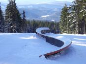 An S-box in a terrain park at a ski resort, Timberline Lodge ski area