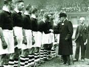 English: King George V visiting meeting Manchester City F.C. players at Hyde Road in 1920. In accordance with section 12 of the UK Copyright, Designs and Patents Act 1988, and because the author of the original work is unknown, copyright expires seventy y