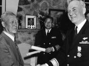 Syngman Rhee awarding a medal to U.S. Navy Rear Admiral Ralph A. Ofstie during the Korean War in 1952
