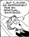 A panel from Stuart Hample's Inside Woody Allen comic strip