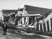 Earthquake damage to good quality, wood-frame houses in Valdivia, Chile, 1960.
