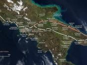 Map of the Appian Way and the later and shorter Via Appia Traiana.