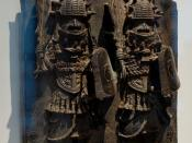 Warriors holding their ceremonial swords. Sculpture of the Benin Kingdom. Bronze, 16th-18th century, Nigeria.