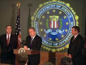 911: President George W. Bush Tours Federal Bureau of Investigation (FBI) Headquarters, 09/25/2001.