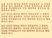 English: Longer illustration of three common Korean type styles. The text is Article 1 of the Universal Declaration of Human Rights, manually transcribed from an image at http://www.omniglot.com/writing/korean.htm