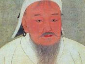 Taizu, better known as Genghis Khan. Portrait cropped out of a page from an album depicting several Yuan emperors (Yuandai di banshenxiang), now located in the National Palace Museum in Taipei (inv. nr. zhonghua 000324). Original size is 47 cm wide and 59