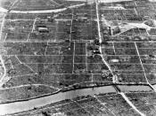 Aerial view of the destuction at Hiroshima, Japan, caused by the atomic bomb dropped on the city.