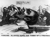 English: Forcing Slavery Down the Throat of a Freesoiler An 1856 cartoon depicts a giant free soiler being held down by James Buchanan and Lewis Cass standing on the Democratic platform marked