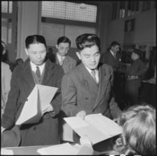 San Francisco, California. Residents of Japanese ancestry file forms containing personal data, two . . . - NARA - 536057