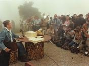 President Ronald Reagan signs the Economic Recovery Tax Act of 1981, Rancho del Cielo, 1981.