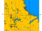 Location map of Labrador City, Newfoundland and Labrador, Canada