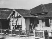 English: Display home at the Exhibition, Brisbane, 1937 Fibrolite Asbestos Cement bungalow by James Hardie & Company, which was on display at the RNA Exhibition (Ekka). (Description supplied with photograph).