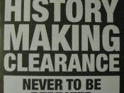 Flyer for the History Making Clearance distributed to customers