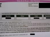 A sample turn-off notice issued by a utility company. The customer who it was issued to authorized its use provided that all of the customer's personal information and the amounts listed be blanked out.