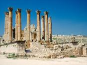 The Roman Temple of Artemis in Jerash, Jordan, was built around the middle of the 2nd century A.D. during the reign of Antonine the Pius.